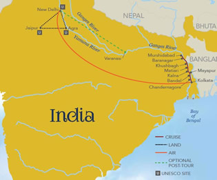 Map Of Asia Ganges River.Splendors Of India The Ganges River All Gay River Cruise Tour 2019