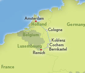 Map Of France Holland And Germany.Amsterdam To Luxembourg Rhine Moselle Rivers All Lesbian Cruise